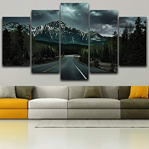 40x60 40x80 40x100cm No Frame Wall Living Room Printed Pictures Home Decor Canvas 5 Panel Dark Mountains Sky Scenery Modern HD Frame Painting Posters