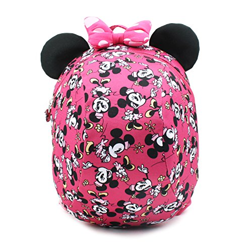 Disney Mickey Minnie Mouse Dome Small Backpack with a Removable Strap Safety Harness to Prevent Children from Going Missing (Pink - Minne)