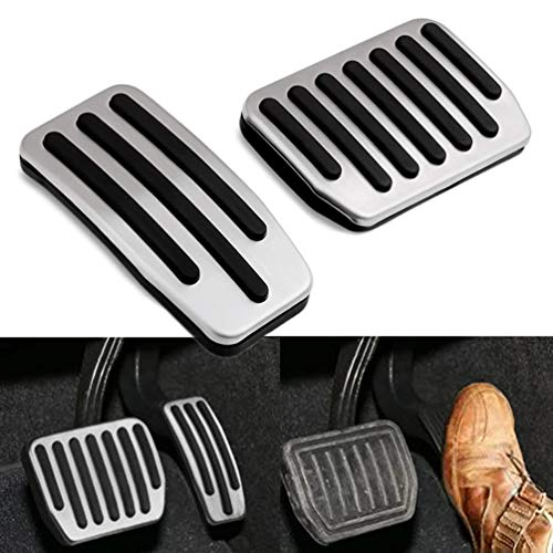 Foot Pedals, Set Aluminum Non-Slip Accelerator Pedal Brake Pedals Cover Car Replacement No Drill Pad Gas Pedal for Tesla Model 3 ()