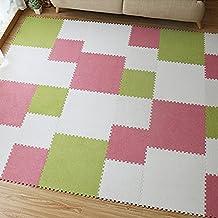 "yazi Interlocking Foam Puzzle Floor Mat Set Baby Child Pink Color Set of 9 ,Each tile is 1 sqft 17"" x 17"" x 0.43"",Set of 9 Tiles"