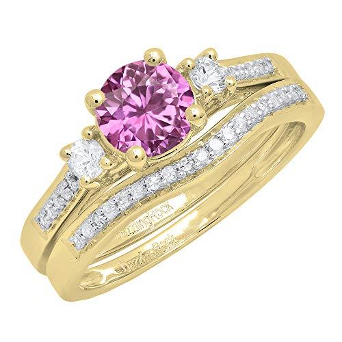 Dazzlingrock Collection 10K 6 MM Round Pink Sapphire, White Sapphire & Diamond 3 Stone Ring Set, Yellow Gold, Size 7.5