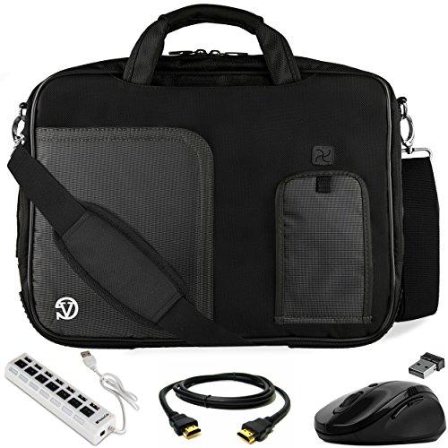 VanGoddy Jet Black Laptop Bag w/HDMI Cable, USB HUB & Mouse for HP Pavilion/ProBook/ENVY/ZBook/Omen 17.3inch Laptops (Executive Hub)