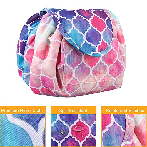 Cosmetic Bag Lazy Makeup Organizer, Fintie Waterproof Portable Drawstring Large Capacity Travel Toiletry Storage Pouch Case for Women Girls, Moroccan Love by Fintie (Image #2)