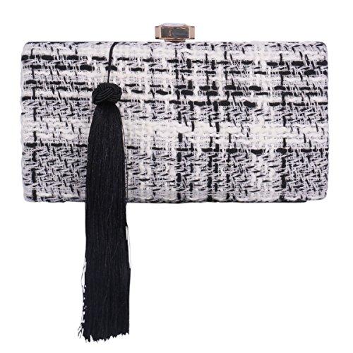Polyester Femme Sac Main avec de à Soirée Sac Pochette Noir Long Frange Adoptfade Noir Uxqn6U