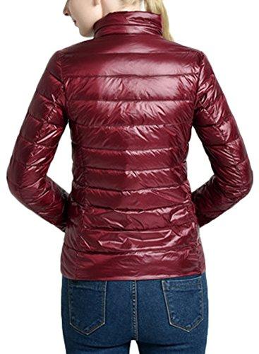 Mochoose Femme Manteau Blouson Zippée Doudoune Longues Hiver Manches Rouge Légère Veste Vin Parka Ultra Pour rY0r7qIw