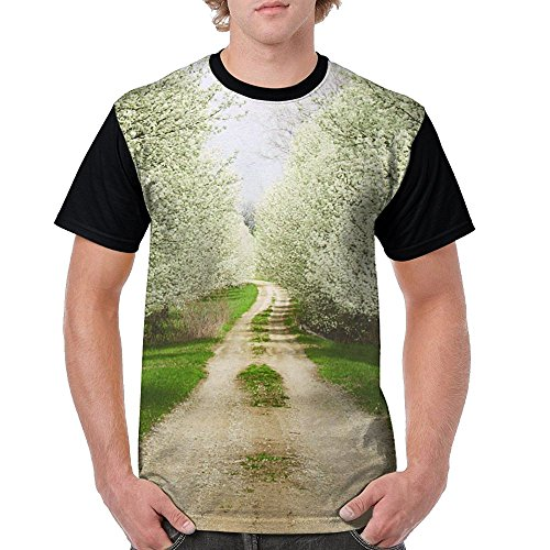 (Country Road Full Of Pear Flower Jersey Baseball Tee T Shirts For Men Tshirt)