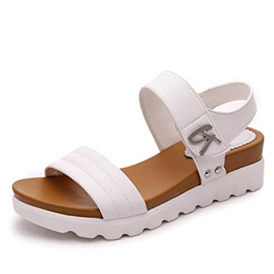 5505f227d53 OHQ Sandales Mode à Semelles éPaisses pour Femmes Noir Blanc D éTé âGéEs  Plates De