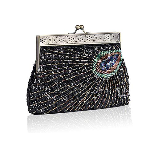 Clutch Bag The Evening Sequined Envelop Women's Retro Handmade Mysterious Black Wedding Dinner Beaded Banquet Party Handbag Sp1twPqtOx
