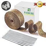 Pandure Titanium Exhaut Heat Wrap 2'' x 50' Exhaust Header Wrap kit with 20pcs Stainless Locking Ties (2'' x 50' Golden)