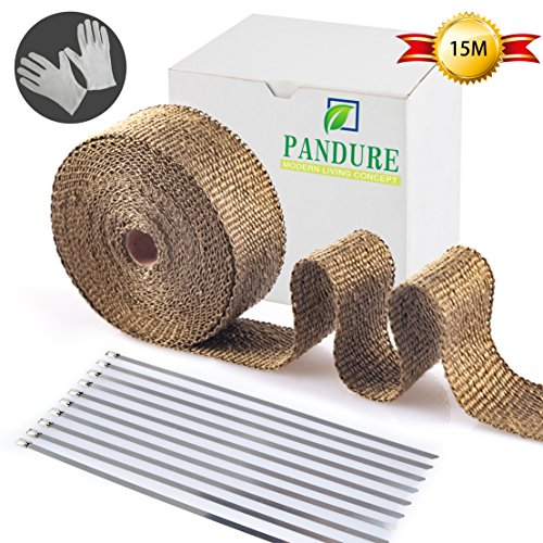 Pandure Titanium Exhaut Heat Wrap 2'' x 50' Exhaust Header Wrap kit with 20pcs Stainless Locking Ties (2'' x 50' Golden) by Pandure
