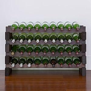 modularack 36 bottle wooden wine rack australian radiata pine dark stain 4h x 9w - Wooden Wine Rack