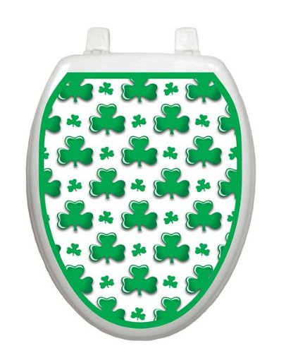 Shamrocks Toilet Tattoo TT-P100-O Elongated St. Patricks Day -