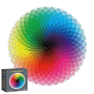 Houkiper Round Jigsaw Rainbow Puzzles, 1000 Pieces Round Gradient Color Rainbow Durable Cardboard Puzzle for Kids Adult,10, 11, 12 and Ages Up