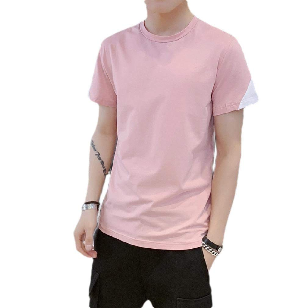 Zimaes-Men Casual Crew-Neck Cotton Stitching T Shirt Tees Pullover Top