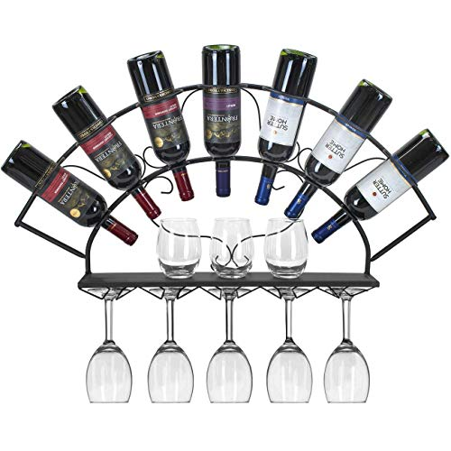 Sorbus Wine Bottle Stemware Glass Rack Wall Mounted - Bordeaux Chateau Style - Holds 7 Bottles of Your Favorite Wine - Elegant Storage for Kitchen, Dining Room, Bar, or Wine Cellar (Black) (Holders Wall Wine)