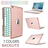 iPad Pro 10.5 Case with Keyboard,elecfan 7 Colors LED Backlit Wireless Bluetooth Keyboard Smart Stand Colorful Keyboard Case for iPad Pro 10.5 inch 2017 Tablet(iPad Pro 10.5, Rose gold)
