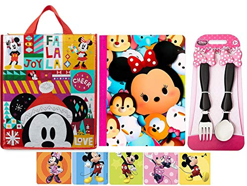Cover Notebook Base (AYB Products Girls Cool Gear Disney Minnie Mouse Clubhouse Fork & Spoon Flatware + Tsum Composition Notebook & Holiday Character Tote Bag + Sticker Bundle)