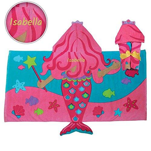 Personalized Beach Towels For Kids - Dibsies Personalization Station Personalized Hooded Beach & Bath Towel (Mermaid)