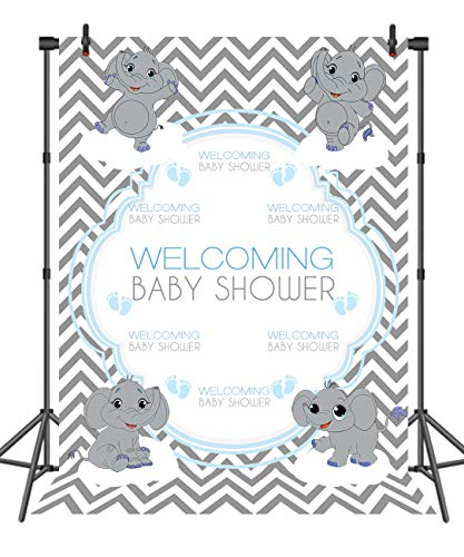 (Sensfun 5X7ft Grey Elephant Baby Shower Party Backdrop Stripes Chevron Welcome Decorations Banner Photography Background Photo Studio Props)