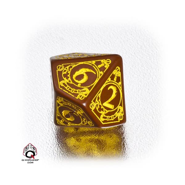 Q WORKSHOP 1 (One) Single d10 Carved Steampunk Ten Sided Dice/Die (Brown/Yellow) 4