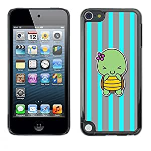 Caucho caso de Shell duro de la cubierta de accesorios de protección BY RAYDREAMMM - Apple iPod Touch 5 - Cute Cartoon Grey Lines