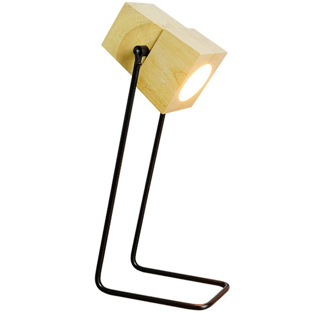 TXDZ Lampe de table en bois, lampe de bureau en bois de fer moderne style nordique Bureau créatif lisant une lampe de table bureau étudiant en dortoir lampe de table de chambre à coucher E27 support d