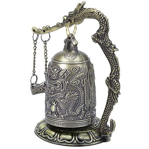 lightclub Lock Dragon Carved Buddhist Good Luck Bell Geomantic for Meditation Altar by lightclub (Image #8)