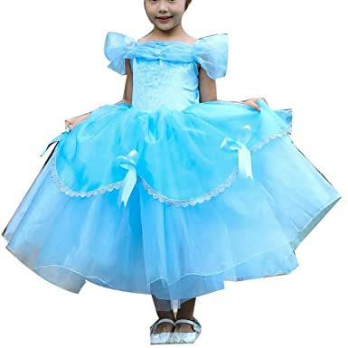 Charming Amazon.com: Girls Princess Belle Costume Dress Up Gowns Cosplay Halloween  Kids Ball Gown 2 13Years Gold: Clothing