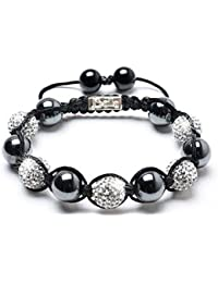 Magnetic Bracelet, Smooth Magnetic Hematite & Crystal Beaded Bracelet by Balla