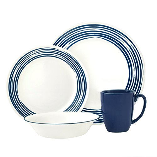 Corelle Boutique Brushed 16-Pc Dinnerware Set, Cobalt Blue /w 3 Bonus Clips (Corelle Blue Set compare prices)