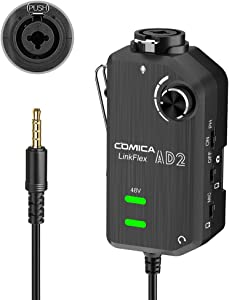 Audio Preamp Adapter Comica LINKFlEX AD2 XLR/ 6.35MM Microphone Preamp Amplifier with 48V Phantom Power, Guitar Interface Adapter for iPhone,iPad,Android Smartphone and DSLR Cameras