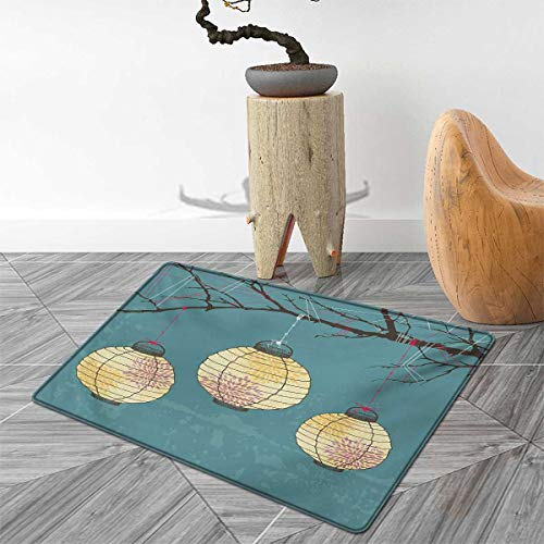 Lantern Door Mats Area Rug Three Paper Lanterns Hanging on Branches Lighting Fixture Source Lamp Boho Floor mat Bath Mat for tub 3'x5' Teal Pale Yellow by PriceTextile