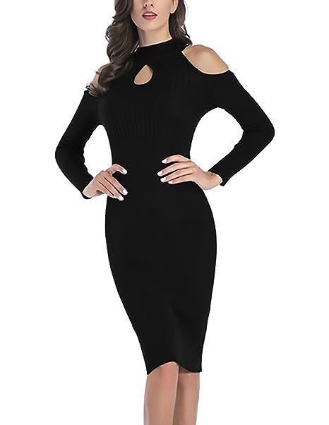 Vestido negro hombros descubiertos manga larga