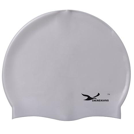 c37fb81e QBSM Gorro de natación de silicona para adultos y niños, mantiene el  cabello seco y