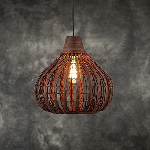 Siminda Tropical Bamboo Chandelier DIY Wicker Rattan Lamp Shades Weave Hanging (Bamboo Lamp Shade)