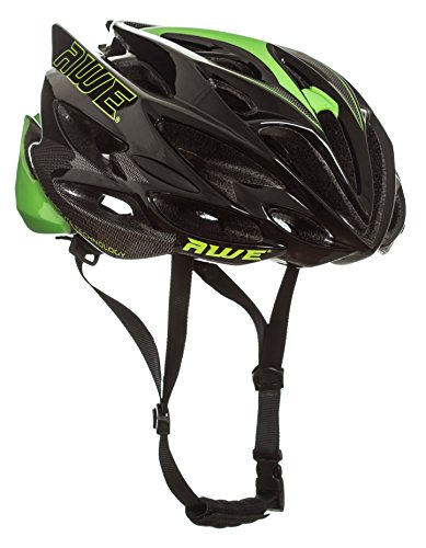 AWE AWESpeed FREE 5 YEAR CRASH REPLACEMENT In Mould Adult Mens Road Cycling Helmet 58-61cm Black Green Carbon US CPSC Standards 16 CFR 1203 Safety Tested (Cm 60 Road Bike)