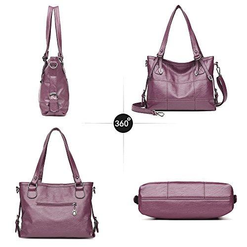 Rouge 3way Viola La Vin Mode Popolare Épaule Jvps g Pu Cuir Style Grande Donna 78 Borsa Nouveau Grigio Impermeabile A4 Tote Capacité À Bag Mme xg0q0USO7w