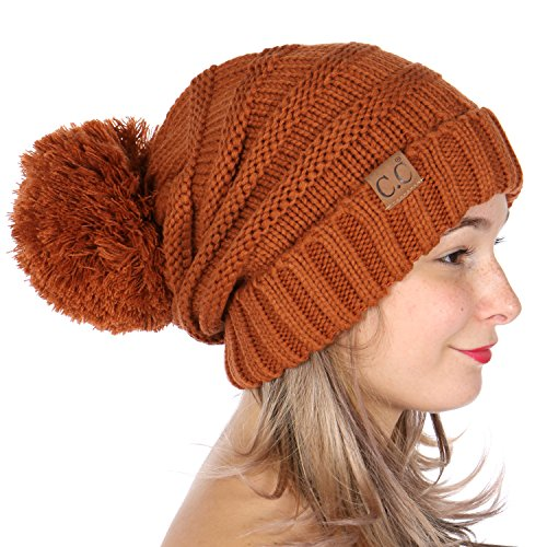 b729f469011 SERENITA C.C Simple Oversized Slouchy Knit Winter Beanie Hat with Pom Pom  Rust