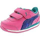 PUMA Girls Speed Lightup Power V Inf Boat Shoe, Shocking Pink-True Blue, 4 M US Toddler