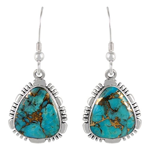 25 Sterling Silver Copper-Infused Matrix Turquoise (Select Style) (Classic Dangles) (Copper Silver Earrings)