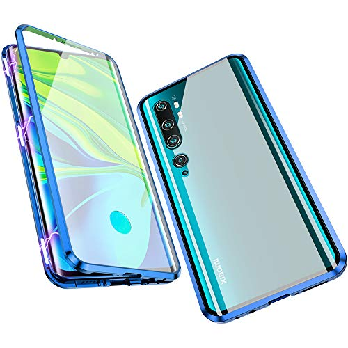 Compatible with Xiaomi Mi Note 10 / CC9 Pro Case, Jonwelsy 360 Degree Front and Back Transparent Tempered Glass Cover, Strong Magnetic Adsorption Technology Metal Bumper for Xiaomi Mi CC9 Pro (Blue)