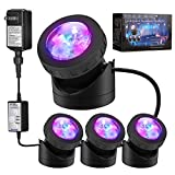 Pond Lights Remote Control Submersible Lamp [Set of 4] IP68 Underwater Aquarium Spot Light 48-LED Multi-Color