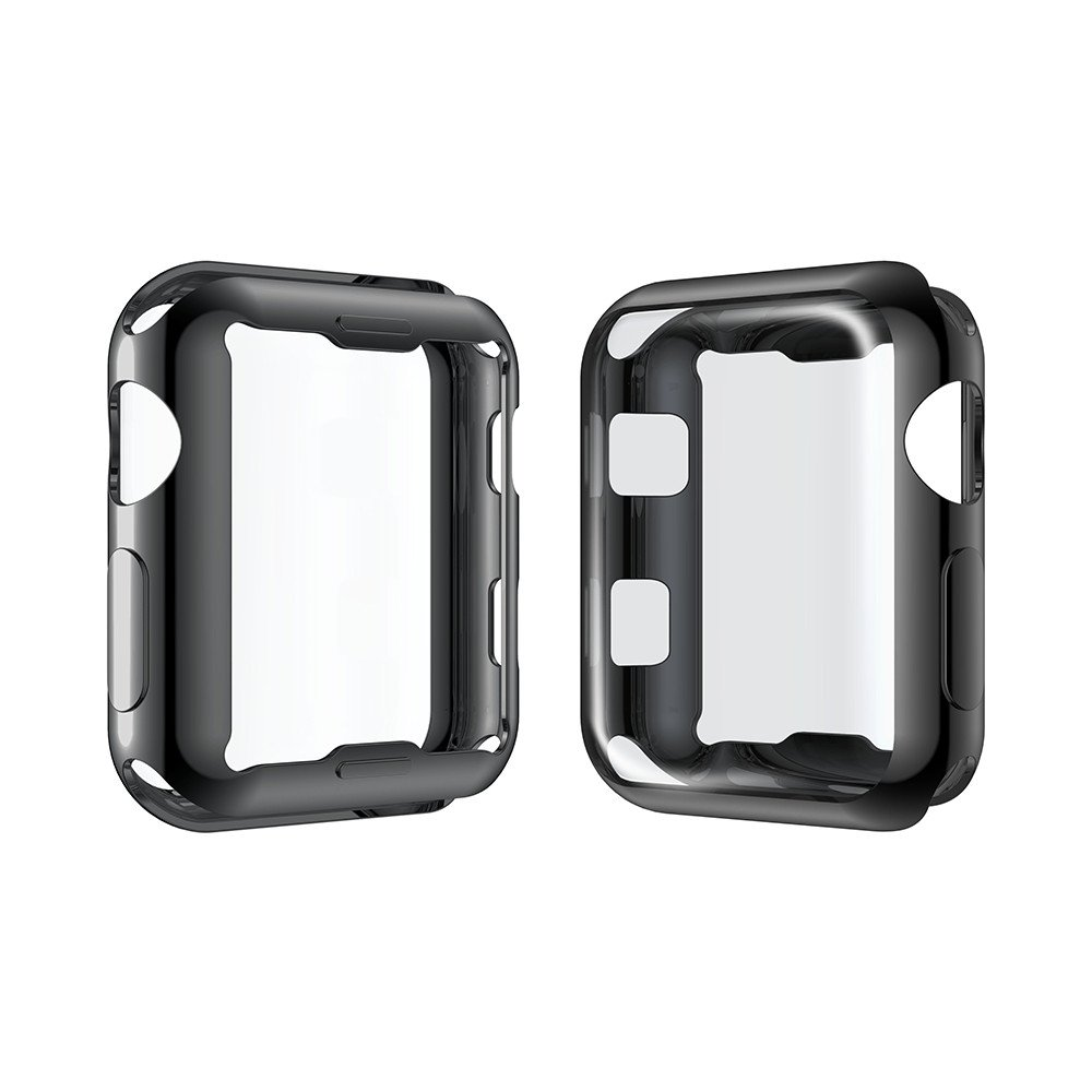 Smiling Apple Watch 3 Case with Built in TPU Screen Protector All-Around Protective Case High Definition Clear Ultra-Thin Cover for Apple iwatch Series 3 and Series 2 (42mm Black) by Smiling (Image #2)