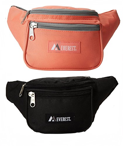 Everest Signature Set of 2 Fanny Packs, Black and Coral Pack