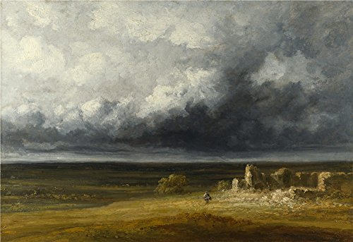 Oil Painting 'Georges Michel Stormy Landscape With Ruins On A Plain ' Printing On Polyster Canvas , 30 X 44 Inch / 76 X 111 Cm ,the Best Study Decoration And Home Artwork And Gifts Is This Cheap But Art Decorative Art Decorative Canvas Prints ()