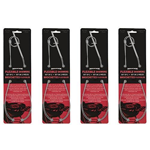 Marathon Housewares HW030052/8pi Easy Marinate Flexible Stainless Steel Grilling Skewers, Pack of ()