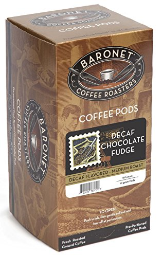 Baronet Coffee Decaf Chocolate Fudge,  Medium Roast, 18-Count Coffee Pods (Pack of - 22 Count K-cups