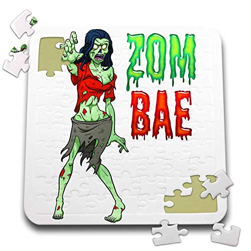 3dRose Carsten Reisinger - Illustrations - Zombae Funny Halloween Zombie Woman - 10x10 Inch Puzzle (pzl_294850_2)]()