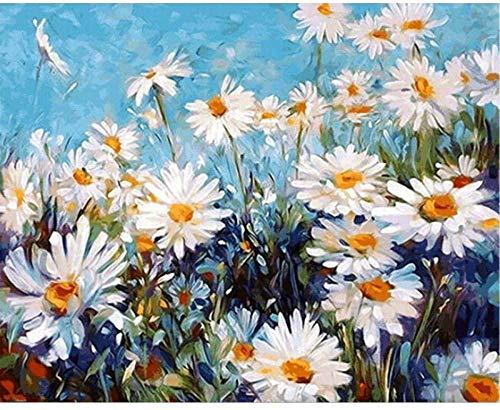 GEZHF - Cuadro de pintura al oleo para adultos (40 x 50 cm), diseno de margaritas