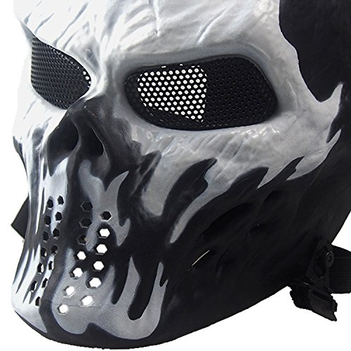 FORITONE Airsoft Paintball Tactical Ballistic Horror Skeleton Face Shield, Cosplay Halloween Scary Zombie Skull Mask, Ignis -